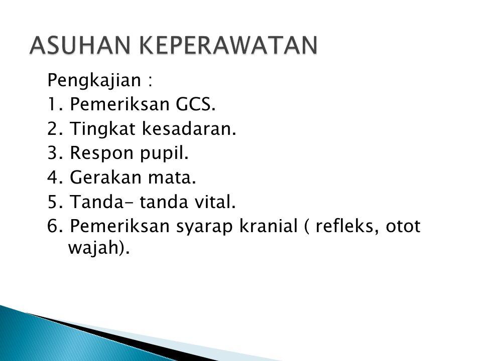 ASUHAN KEPERAWATAN Pengkajian : 1. Pemeriksan GCS.