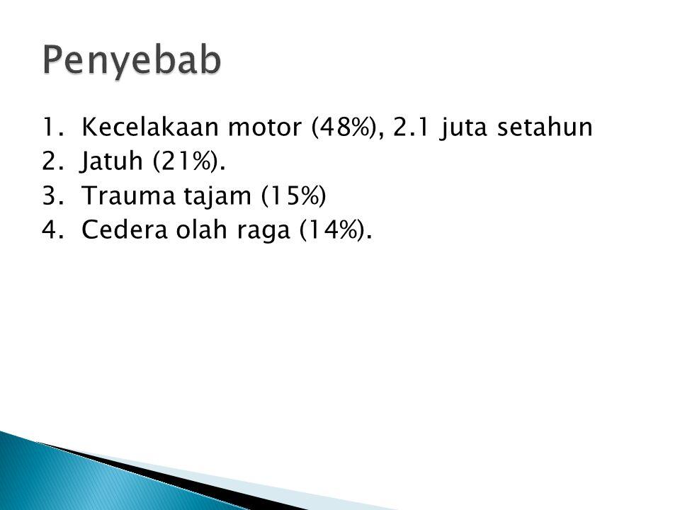 Penyebab 1. Kecelakaan motor (48%), 2.1 juta setahun 2.