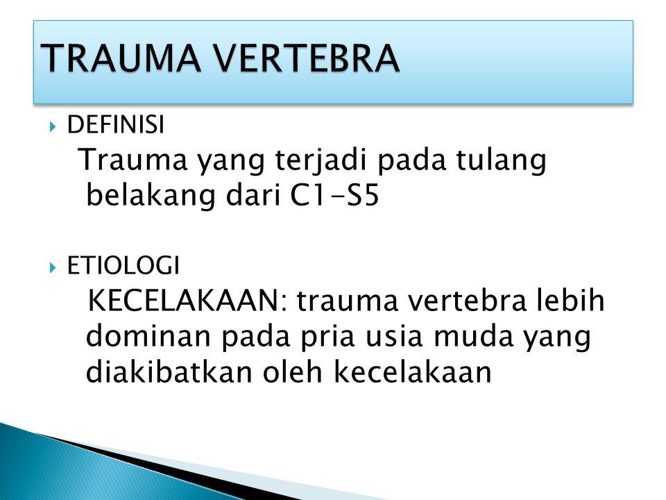 TRAUMA VERTEBRA Trauma yang terjadi pada tulang belakang dari C1-S5