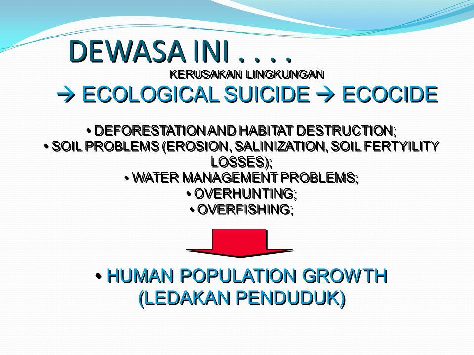 DEWASA INI . . . .  ECOLOGICAL SUICIDE  ECOCIDE