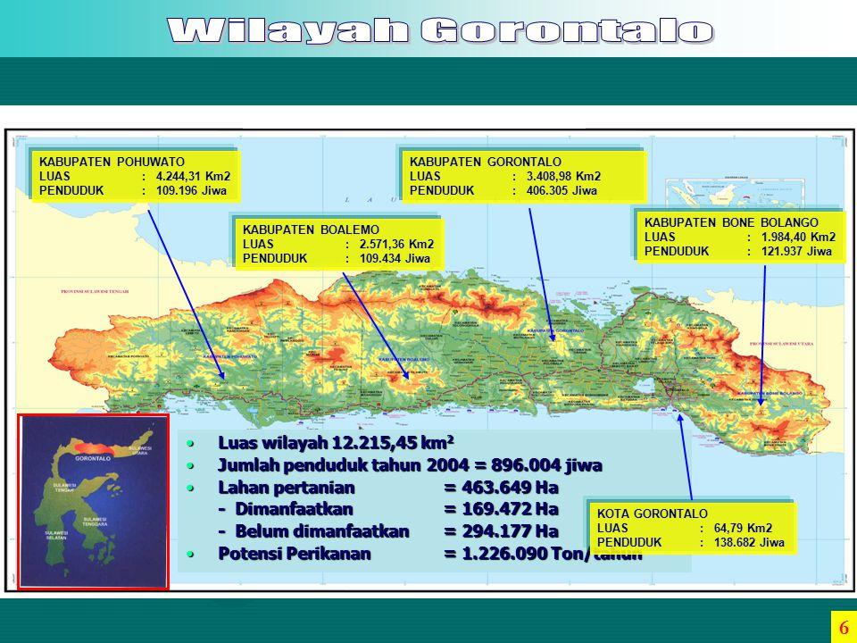 6 Luas wilayah 12.215,45 km2 Jumlah penduduk tahun 2004 = 896.004 jiwa