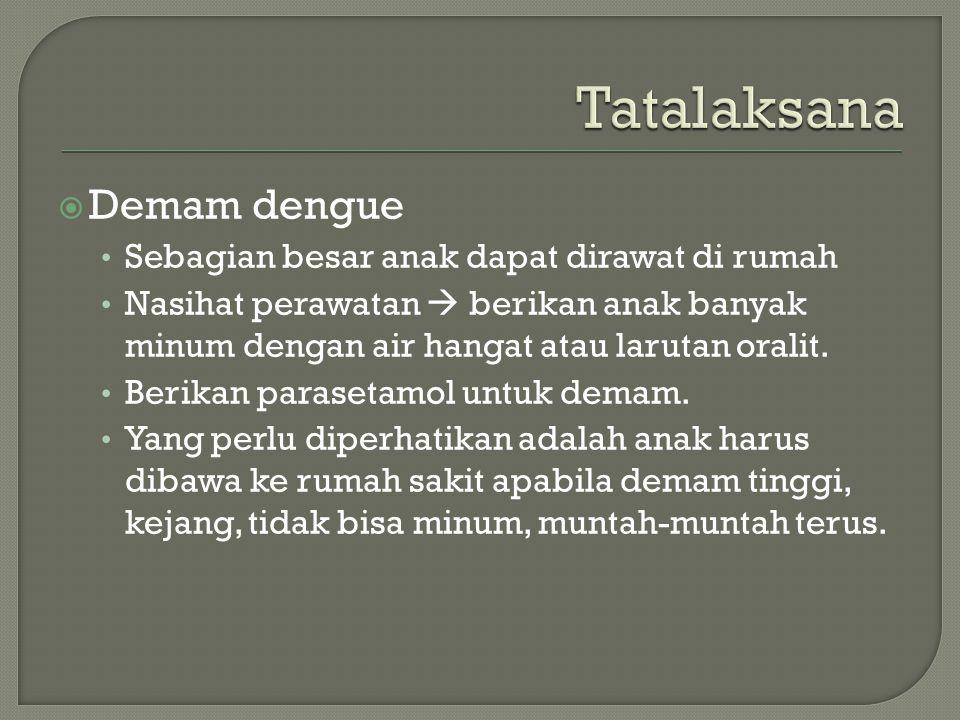 Tatalaksana Demam dengue Sebagian besar anak dapat dirawat di rumah