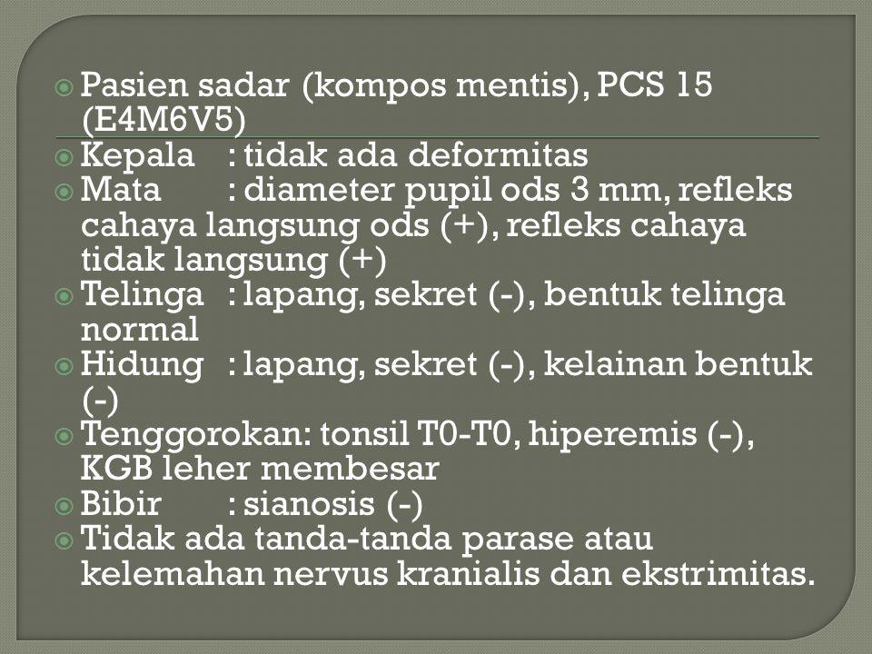 Pasien sadar (kompos mentis), PCS 15 (E4M6V5)