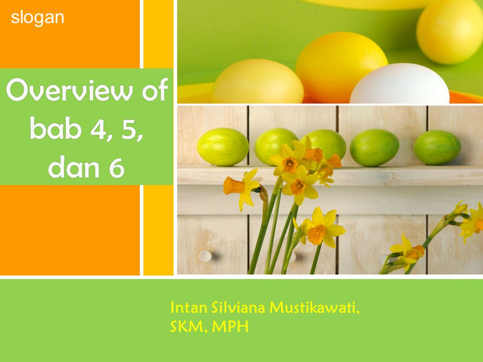 Overview of bab 4, 5, dan 6 Intan Silviana Mustikawati, SKM, MPH