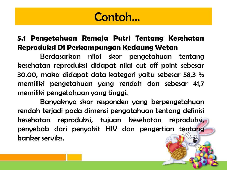 Contoh… 5.1 Pengetahuan Remaja Putri Tentang Kesehatan Reproduksi Di Perkampungan Kedaung Wetan.
