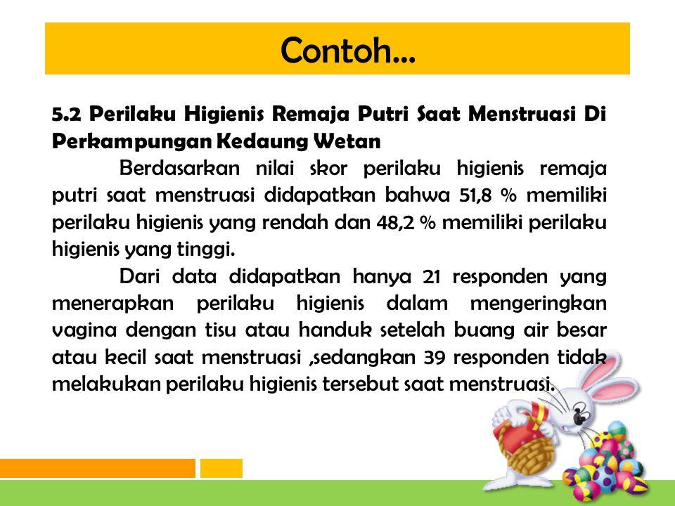 Contoh… 5.2 Perilaku Higienis Remaja Putri Saat Menstruasi Di Perkampungan Kedaung Wetan.