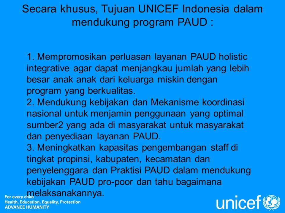 Secara khusus, Tujuan UNICEF Indonesia dalam mendukung program PAUD :