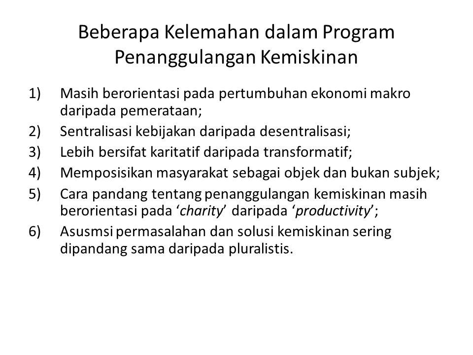 Beberapa Kelemahan dalam Program Penanggulangan Kemiskinan