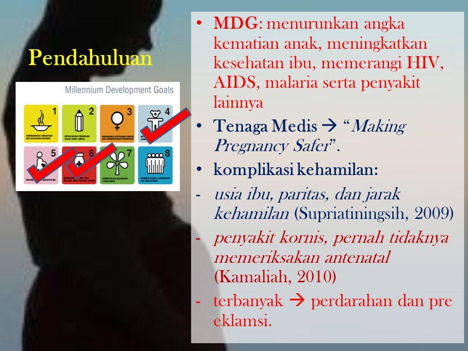 Pendahuluan MDG: menurunkan angka kematian anak, meningkatkan kesehatan ibu, memerangi HIV, AIDS, malaria serta penyakit lainnya.