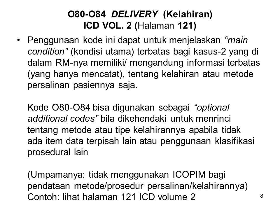 O80-O84 DELIVERY (Kelahiran) ICD VOL. 2 (Halaman 121)
