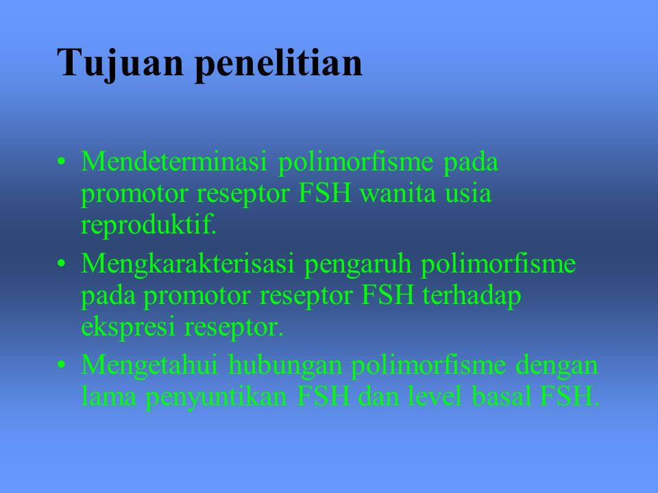 Tujuan penelitian Mendeterminasi polimorfisme pada promotor reseptor FSH wanita usia reproduktif.