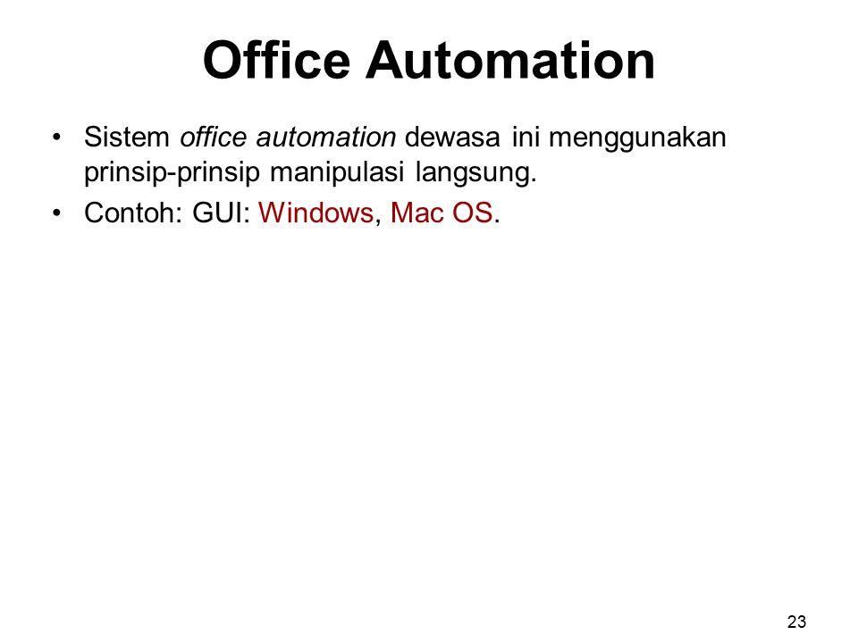 Office Automation Sistem office automation dewasa ini menggunakan prinsip-prinsip manipulasi langsung.