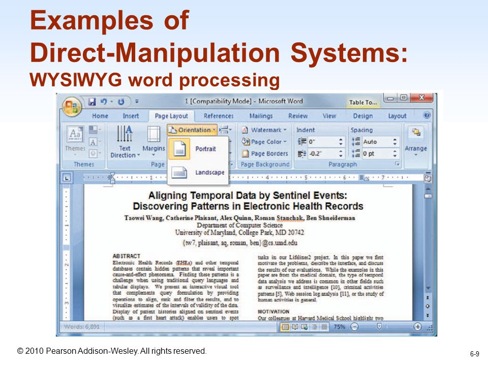 Examples of Direct-Manipulation Systems: WYSIWYG word processing