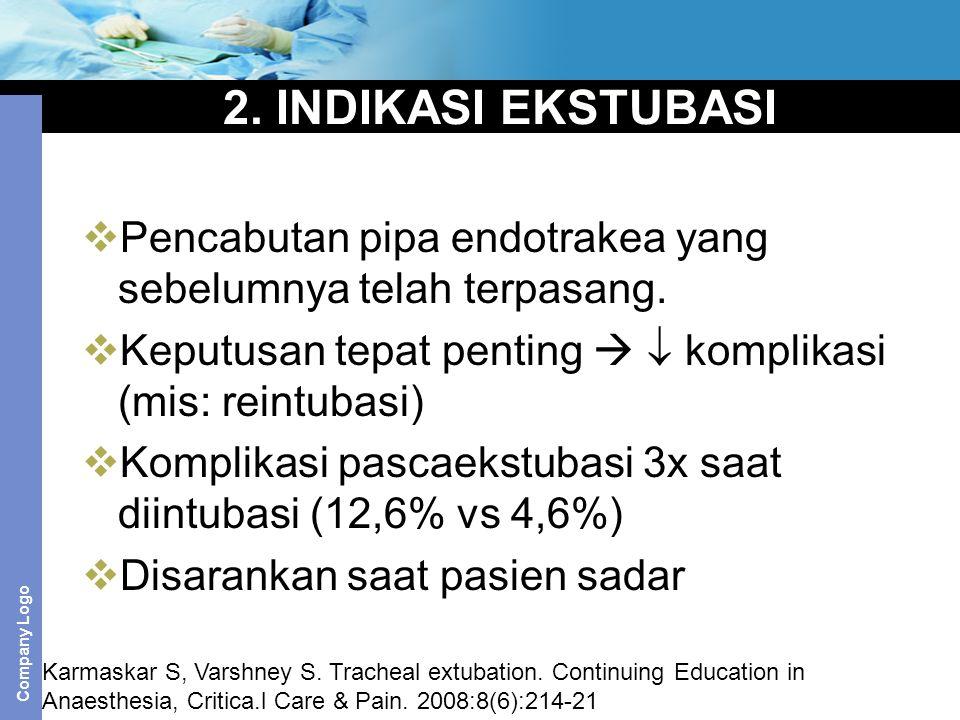 2. INDIKASI EKSTUBASI Pencabutan pipa endotrakea yang sebelumnya telah terpasang. Keputusan tepat penting   komplikasi (mis: reintubasi)