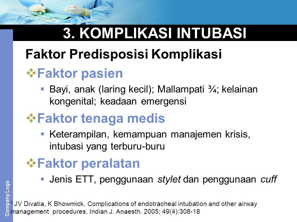 3. KOMPLIKASI INTUBASI Faktor Predisposisi Komplikasi Faktor pasien