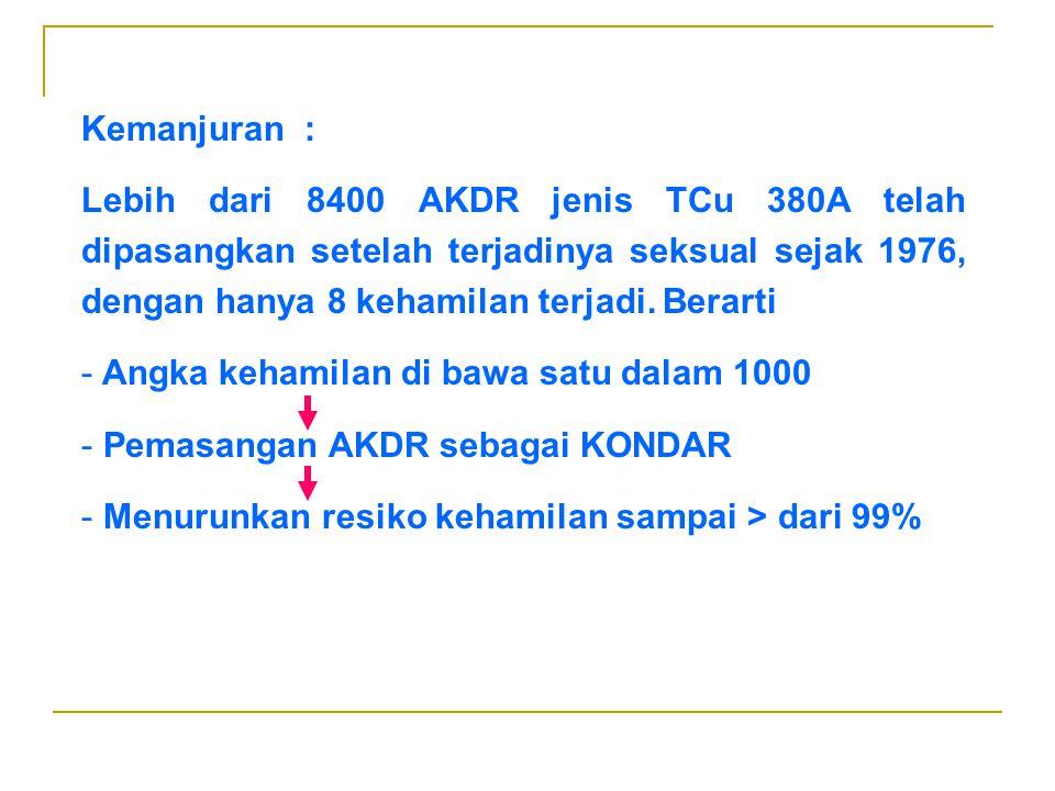 Kemanjuran : Lebih dari 8400 AKDR jenis TCu 380A telah dipasangkan setelah terjadinya seksual sejak 1976, dengan hanya 8 kehamilan terjadi. Berarti.