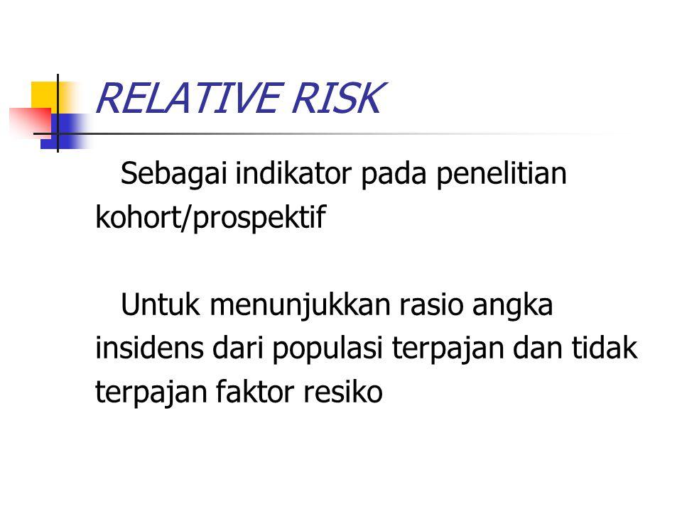 RELATIVE RISK Sebagai indikator pada penelitian kohort/prospektif