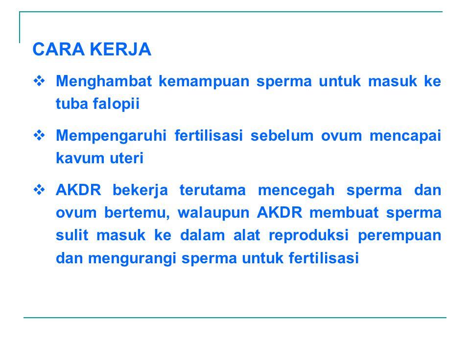 CARA KERJA Menghambat kemampuan sperma untuk masuk ke tuba falopii