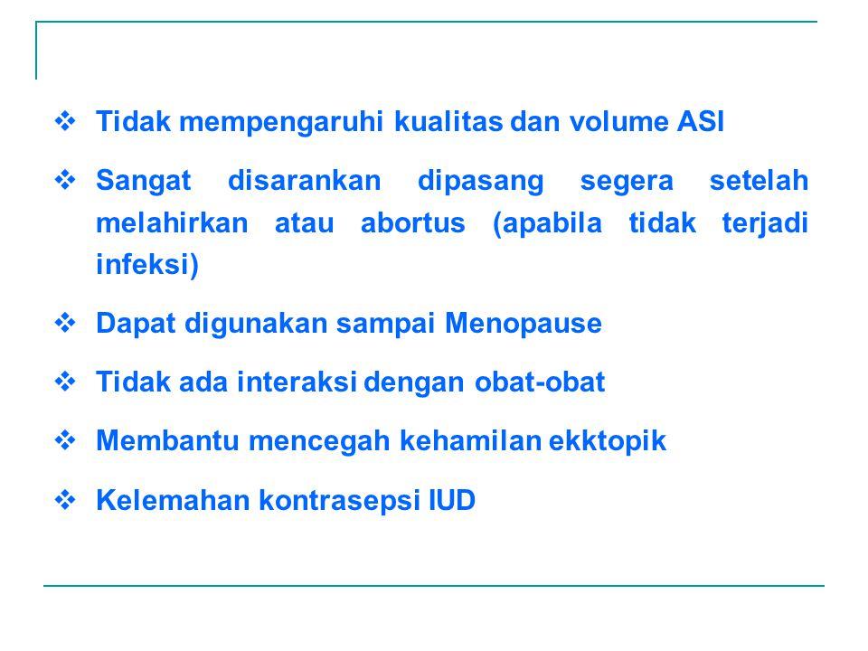 Tidak mempengaruhi kualitas dan volume ASI