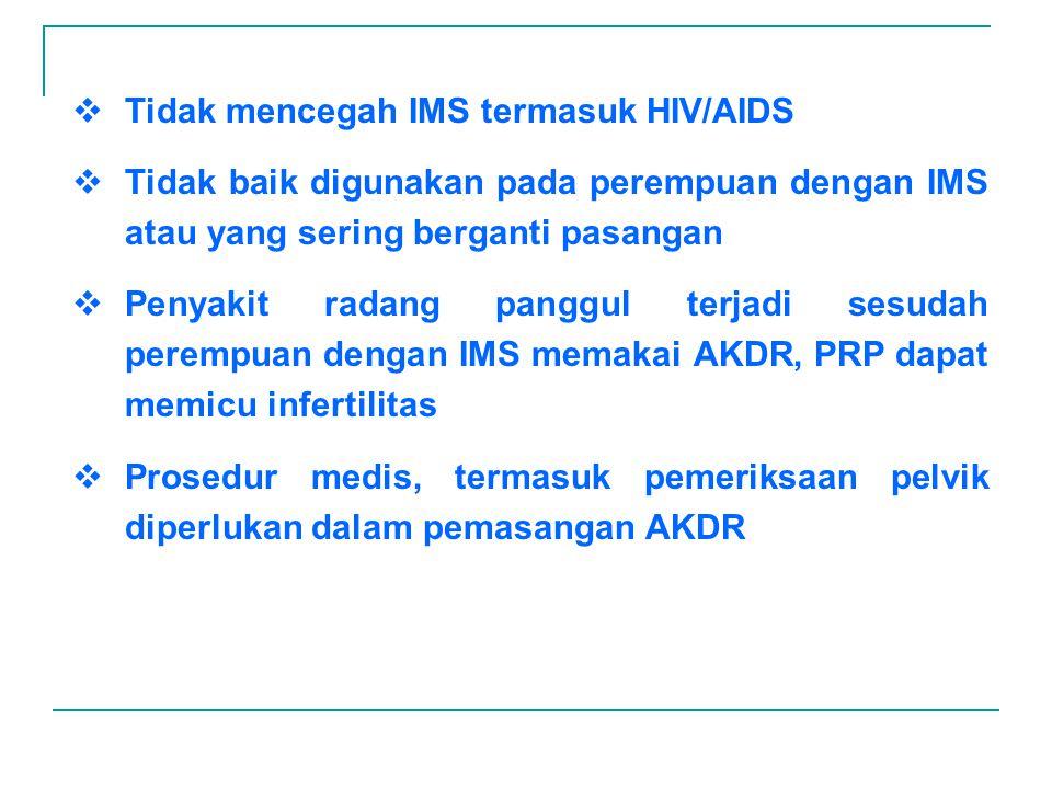 Tidak mencegah IMS termasuk HIV/AIDS