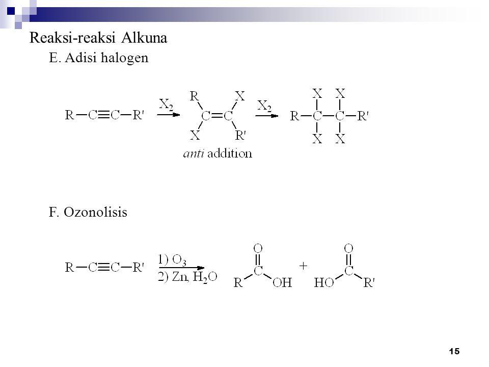 Reaksi-reaksi Alkuna E. Adisi halogen F. Ozonolisis