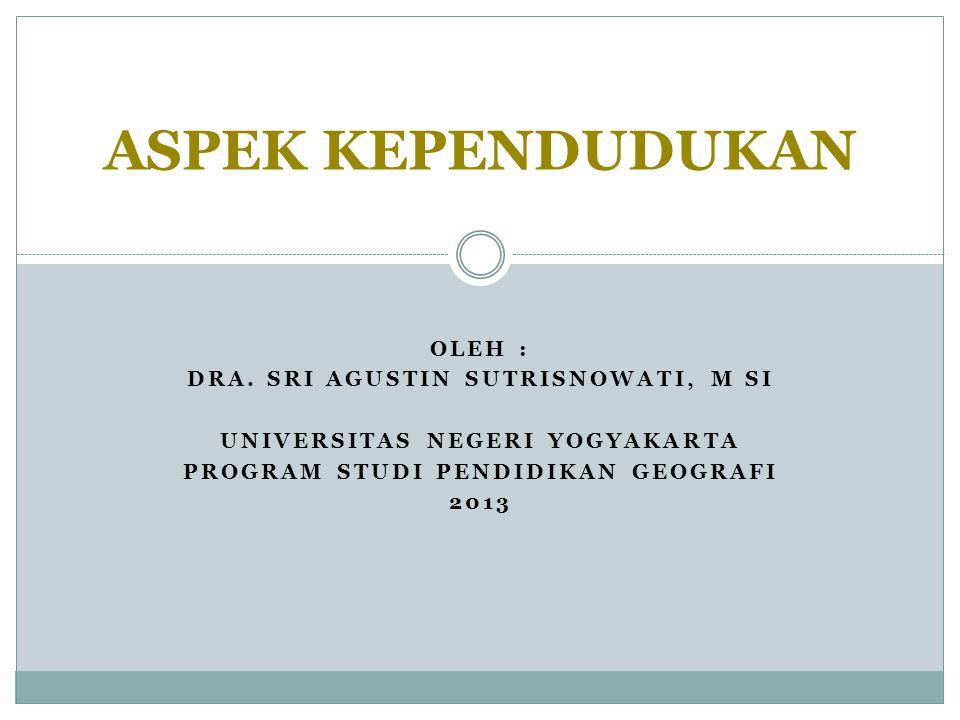 ASPEK KEPENDUDUKAN Oleh : Dra. Sri Agustin Sutrisnowati, M Si