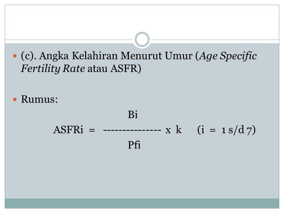 (c). Angka Kelahiran Menurut Umur (Age Specific Fertility Rate atau ASFR)