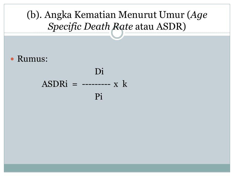 (b). Angka Kematian Menurut Umur (Age Specific Death Rate atau ASDR)
