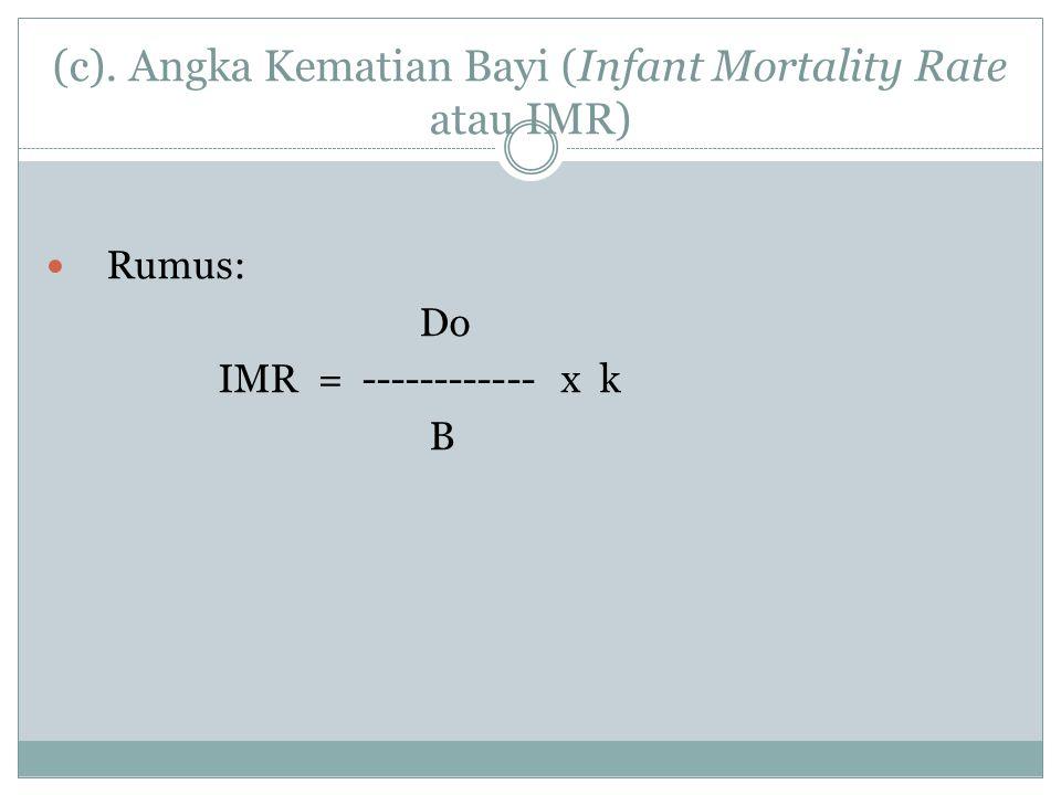 (c). Angka Kematian Bayi (Infant Mortality Rate atau IMR)