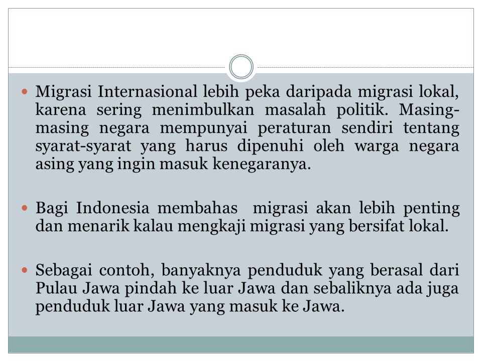Migrasi Internasional lebih peka daripada migrasi lokal, karena sering menimbulkan masalah politik. Masing-masing negara mempunyai peraturan sendiri tentang syarat-syarat yang harus dipenuhi oleh warga negara asing yang ingin masuk kenegaranya.