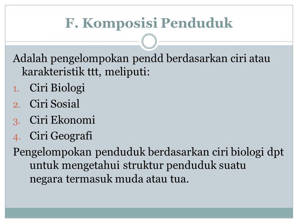 F. Komposisi Penduduk Adalah pengelompokan pendd berdasarkan ciri atau karakteristik ttt, meliputi: