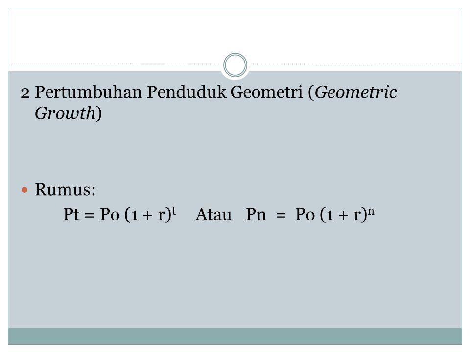 2 Pertumbuhan Penduduk Geometri (Geometric Growth)