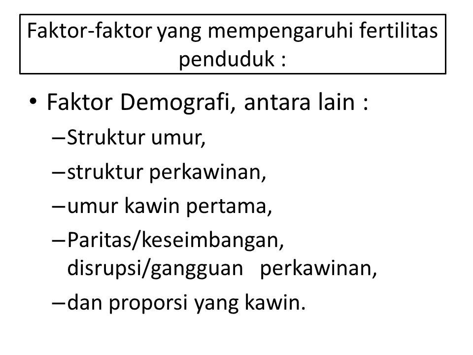 Faktor-faktor yang mempengaruhi fertilitas penduduk :