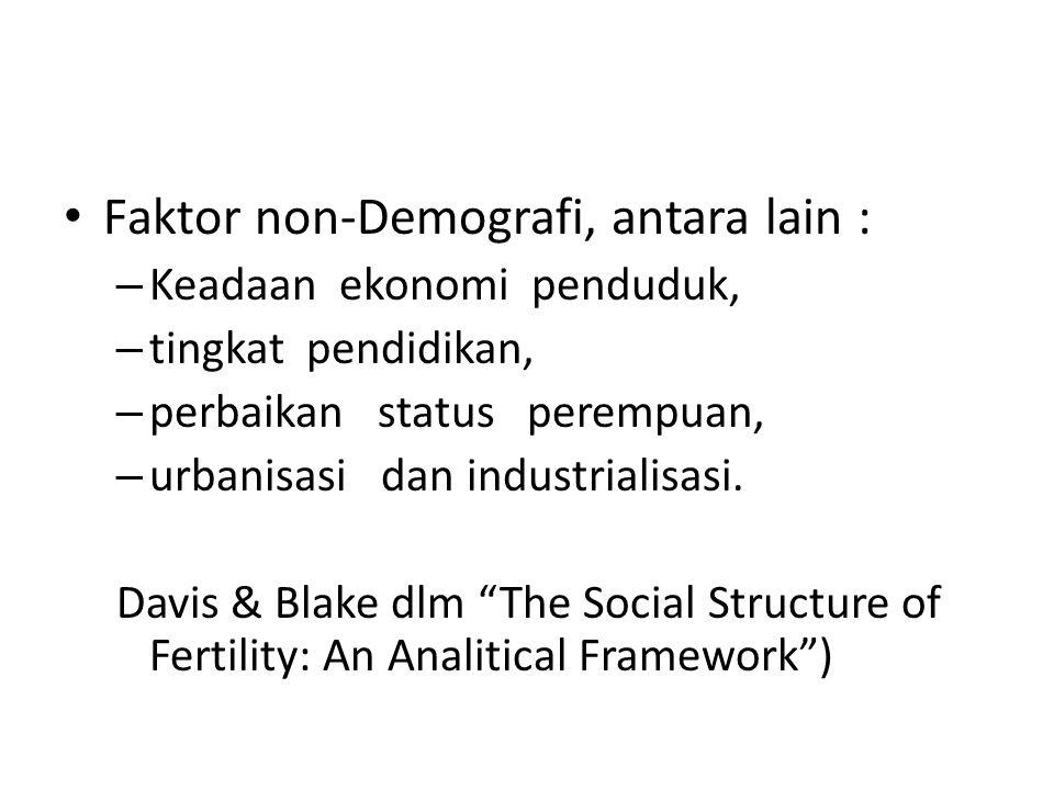 Faktor non-Demografi, antara lain :