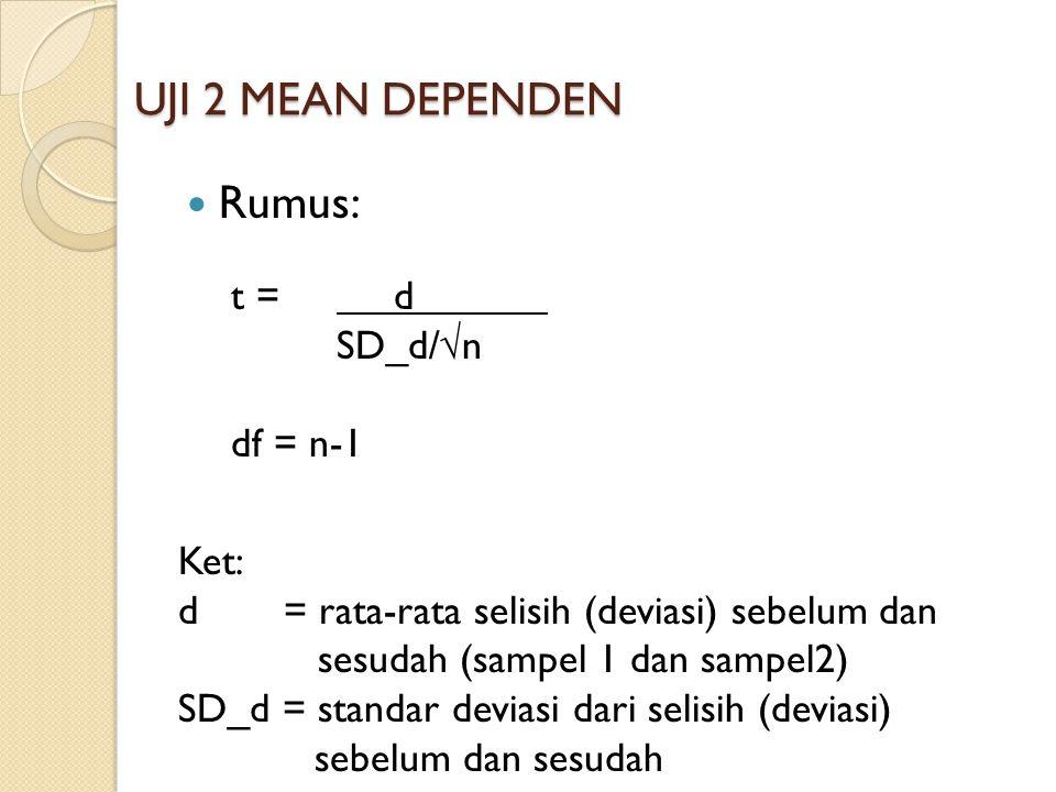 UJI 2 MEAN DEPENDEN Rumus: t = d SD_d/√n df = n-1 Ket: