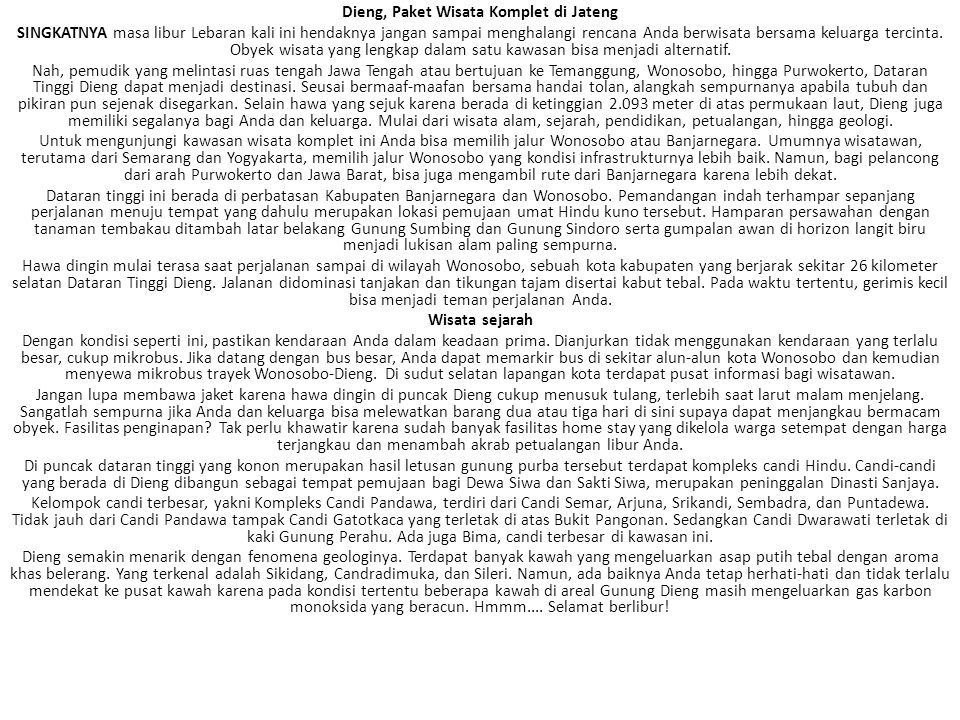 Dieng, Paket Wisata Komplet di Jateng