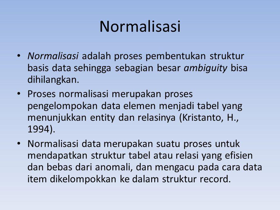 Normalisasi Normalisasi adalah proses pembentukan struktur basis data sehingga sebagian besar ambiguity bisa dihilangkan.