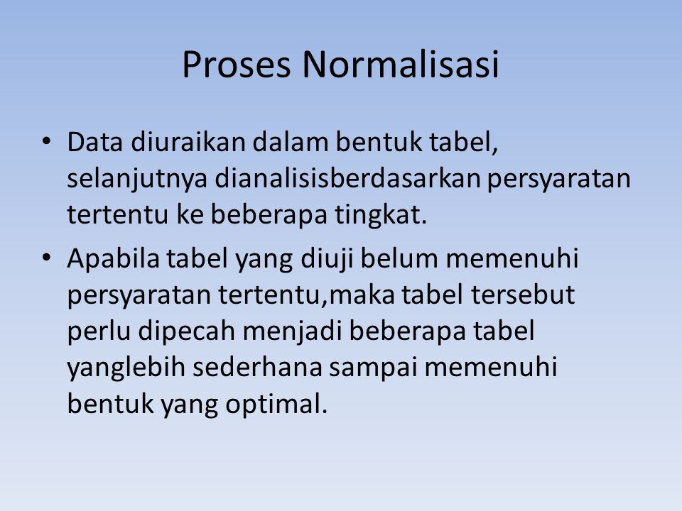 Proses Normalisasi Data diuraikan dalam bentuk tabel, selanjutnya dianalisisberdasarkan persyaratan tertentu ke beberapa tingkat.
