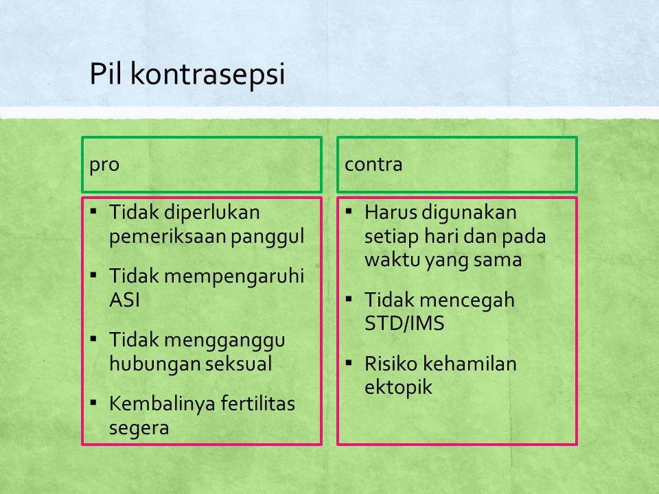 Pil kontrasepsi pro contra Tidak diperlukan pemeriksaan panggul