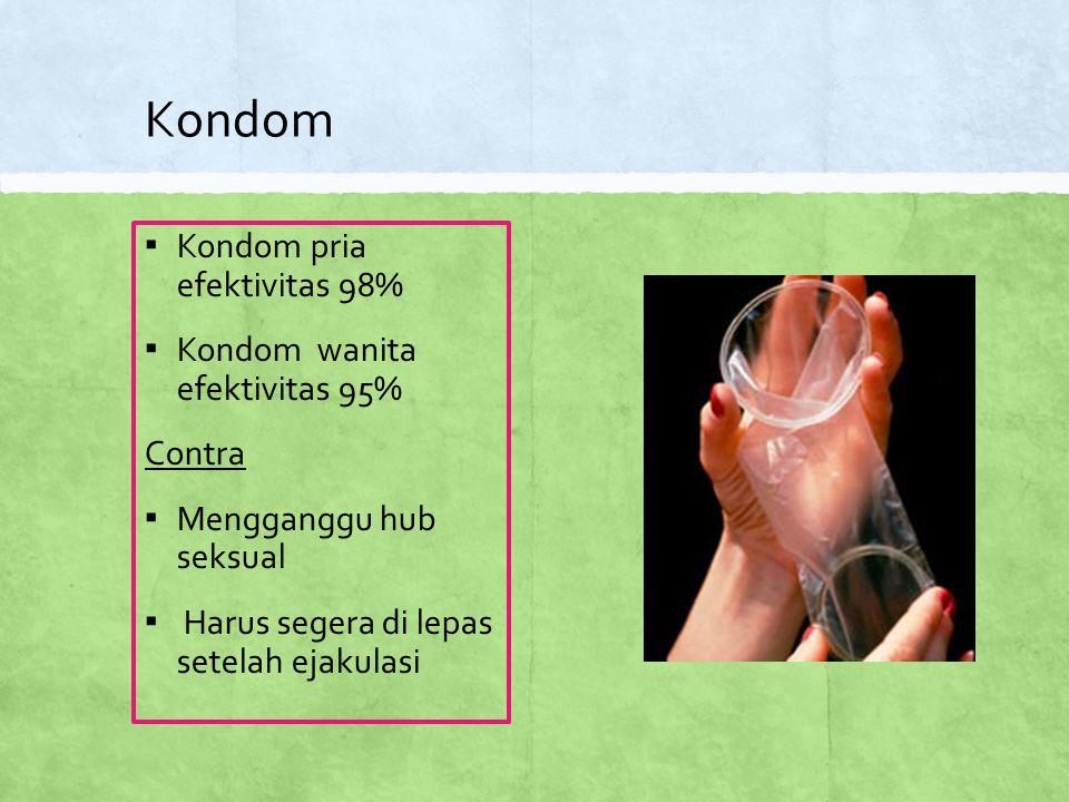 Kondom Kondom pria efektivitas 98% Kondom wanita efektivitas 95%