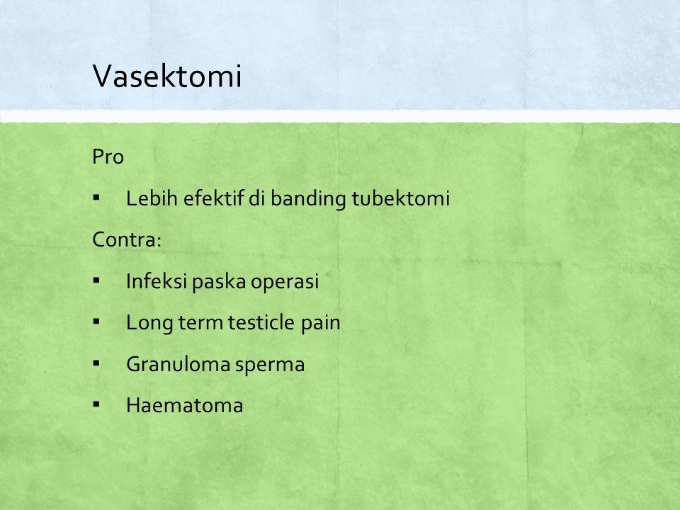 Vasektomi Pro Lebih efektif di banding tubektomi Contra: