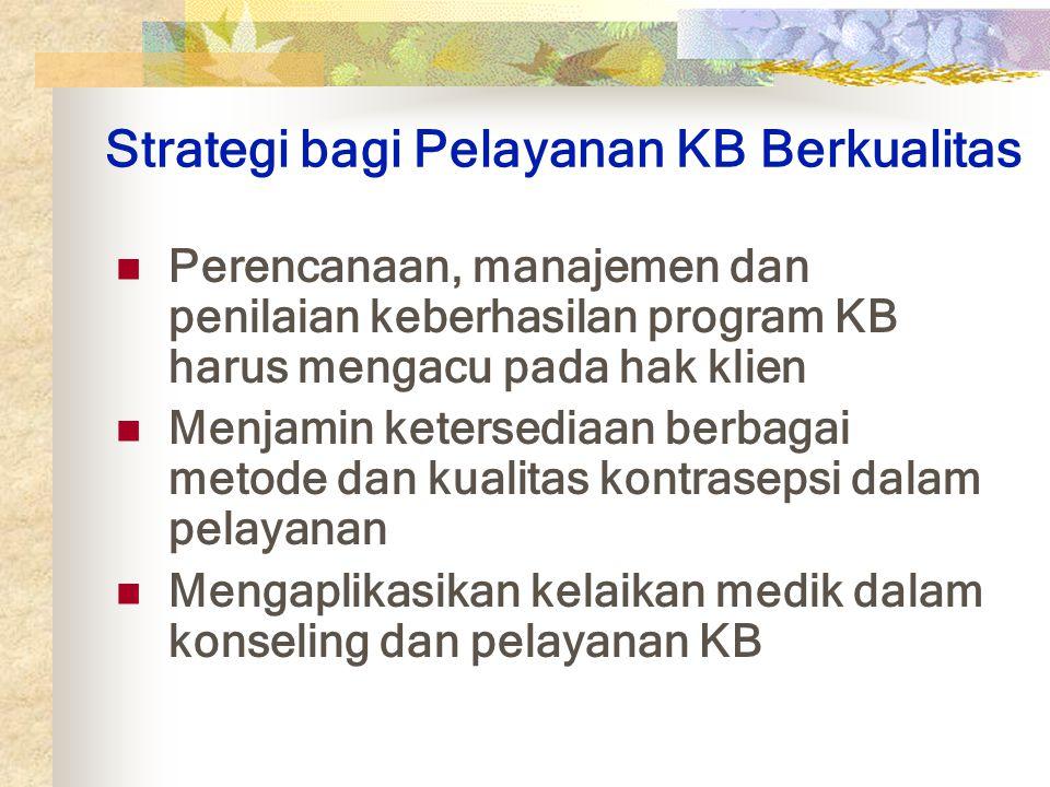 Strategi bagi Pelayanan KB Berkualitas