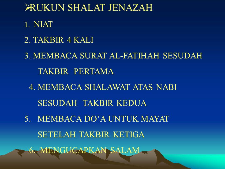 RUKUN SHALAT JENAZAH TAKBIR 4 KALI MEMBACA SURAT AL-FATIHAH SESUDAH