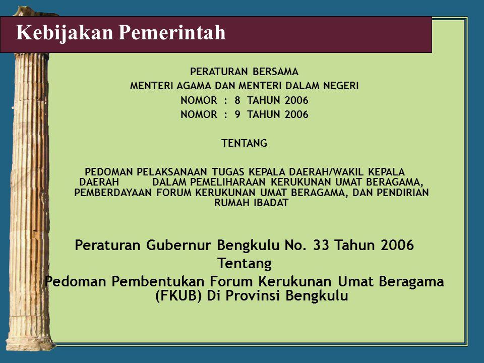 Kebijakan Pemerintah Peraturan Gubernur Bengkulu No. 33 Tahun 2006