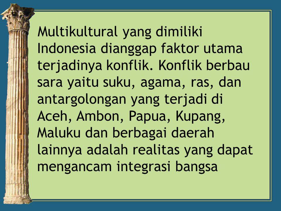Multikultural yang dimiliki Indonesia dianggap faktor utama terjadinya konflik.