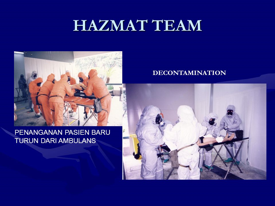 HAZMAT TEAM DECONTAMINATION PENANGANAN PASIEN BARU TURUN DARI AMBULANS