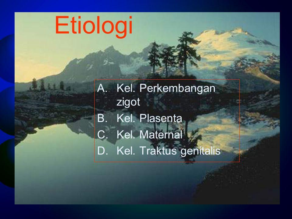 Etiologi Kel. Perkembangan zigot Kel. Plasenta Kel. Maternal