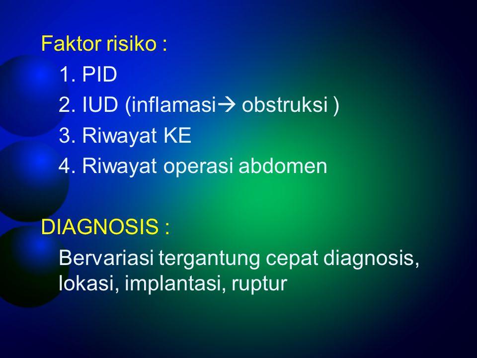 Faktor risiko : 1. PID. 2. IUD (inflamasi obstruksi ) 3. Riwayat KE. 4. Riwayat operasi abdomen.