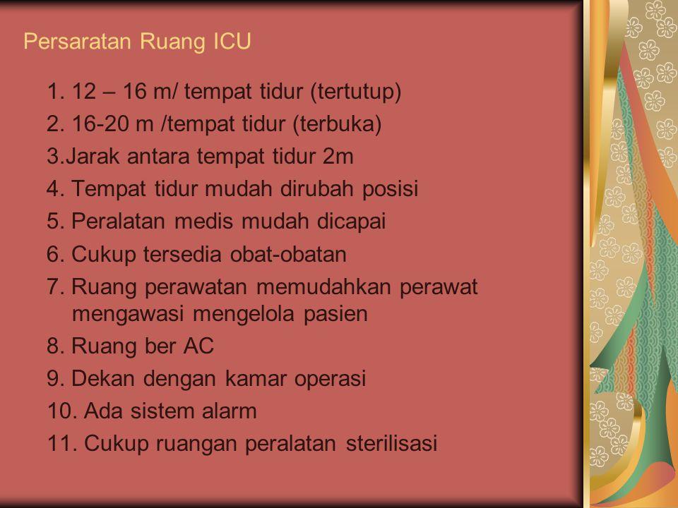 Persaratan Ruang ICU 1. 12 – 16 m/ tempat tidur (tertutup) 2. 16-20 m /tempat tidur (terbuka) 3.Jarak antara tempat tidur 2m.