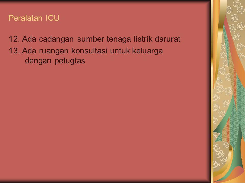 Peralatan ICU 12. Ada cadangan sumber tenaga listrik darurat.